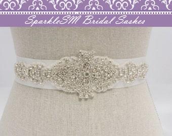 Rhinestone Applique, Bridal Applique, Bridal Sash, Bridal Belt, Wedding Bridal Sash, Bridal Dress Sash Beaded Bridal Sash Crystal Dress Sash