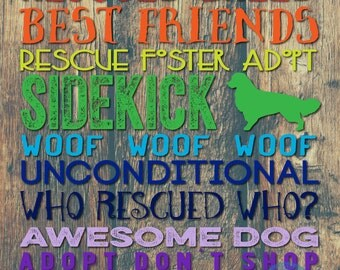 Golden Retriever Typography Rescued Dog Wall Decor Any Breed Upon Request Product Options and Pricing via Dropdown Menu