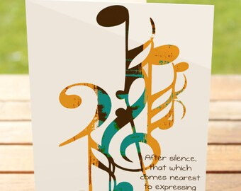 Music Greeting Card   Aldous Huxley Expressing Quote   A7 5x7 Folded - Blank Inside - Wholesale Available