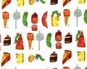 The Very Hungry Caterpillar Snacks on White From Andover Fabrics by Eric Carle