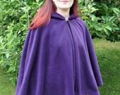 Legendary Fleece Hooded Short Cloak / Cape - Unisex  Medium, Large, XL or XXL in Black, Dark Red, Green, Brown, Plum or Lilac