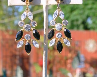 crown trifari rhinestone  earrings