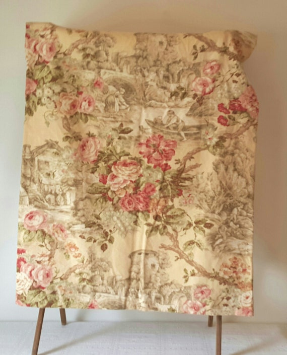 Vintage handmade toile curtains drapes english by for English floral curtains