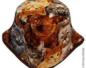 Cat Allover Bucket Hat | Brown-base Unisex Kitten Bucket Hat by Hamlet Pericles