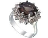 Natural Smoky Quartz Gems Stone Flower Model Ring.925 Sterling Silver