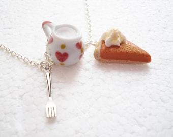 Pumpkin Pie And Cream Pendant. Polymer Clay.