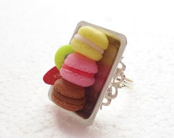 Tray Of French Macaroons Ring. Polymer Clay.