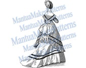 Victorian Dress Engraving, Instant Digital Download, 1870s #2