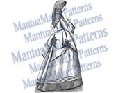 Victorian Dress Engraving, Instant Digital Download, 1871 #9