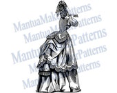 "Victorian Dress Engraving, 11"" tall, Instant Digital Download, JPG & PNG, 1871 #19"