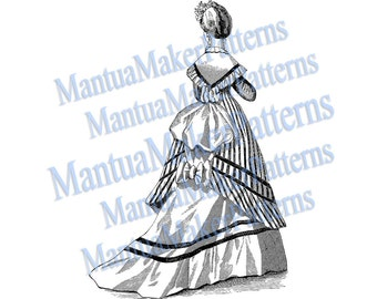 Victorian Dress Engraving, Instant Digital Download, 1870s #2