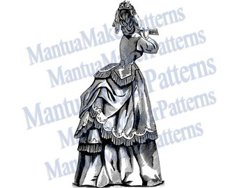 "Victorian Dress Engraving, 11"" tall, Instant Digital Download, JPG & PNG, 1871 #19"