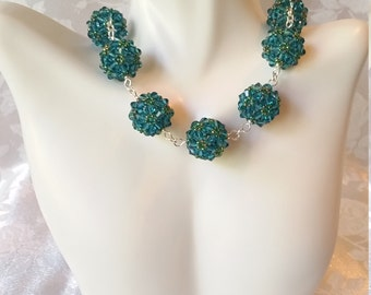 Swarovski Crystal Beaded Ball Wedding Bridal Necklace and Earrings Indicolite Blue