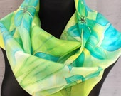 Hand painted light green silk scarf. Shades of blue, turquoise, yellow and light green. Flowers scarf. Art scarf. Golden gutta lines.