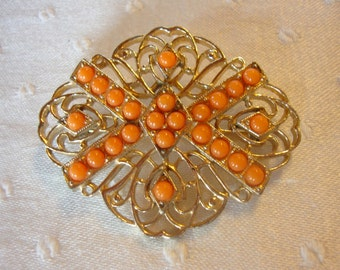 Sarah brooch pin with coral tangerine stones on gold tone filigree