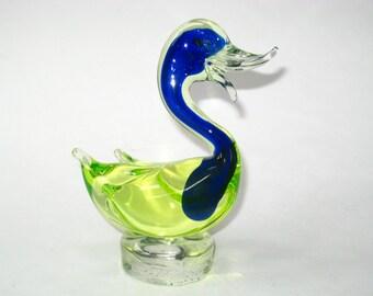 Murano Sommerso Blue & Uranium Yellow Green Sommerso Swan or Duck Figurine - Mid Century Modern Italian Art Glass Bird