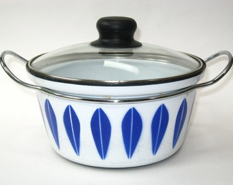 Cathrineholm Norway Blue Lotus Enameled  Casserole Pan Pot Replacement Lid 2 QT