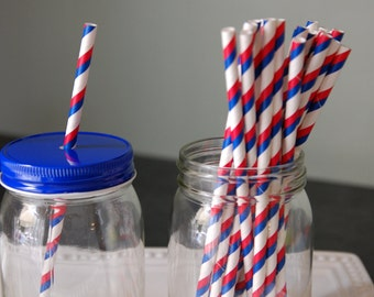 Red and Navy Stripe Paper Straws, 25 pcs, July 4th, Patriotic