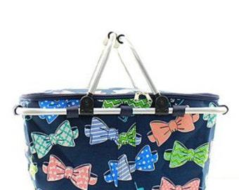 Monogrammed Market Tote - Bow Tie Tote - Prep - Southern Preppy - Bridesmaids - Summer