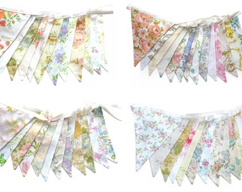 Vintage Wedding Bunting Pretty Spring Pastel & Ivory / White Multi-Colour Floral Flags . BULK DISCOUNT BUY . Engagement Parties, Tea Party