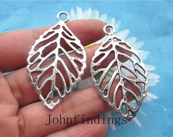 20pc 50x27mm antiqued silver Fligree leaves pendant charms findings