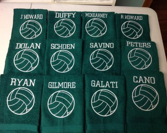 Green Personalized volleyball towel, great volleyball gift, volleyball team towels, green terry towels