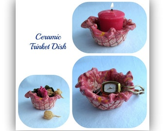 Ceramic dish,Trinket Dish,  Decorative Pottery,  Pottery Dish, ceramic bowl,    # 92