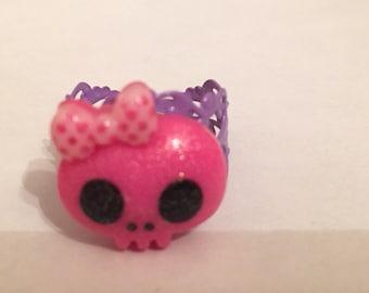 Hott pink glitter skully ring