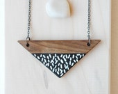 Triangle necklace,wood necklace,black and white necklace,minimal ,simple ,made to order