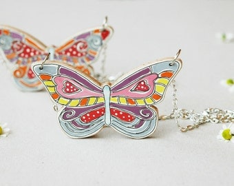 Butterfly necklace,colorful wood necklace ,wooden necklace,bohemian eclectic jewelry,natural jewelry,unique gift for woman