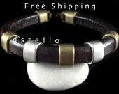 FREE SHIPPING - Thick cuff bracelet, Mens leather bracelet,  Anniversary gift, Mixed metal, Gift for him, Spanish leather, European Quality