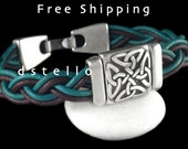 FREE SHIPPING - Celtic Knot leather bracelet, Celtic jewellery cuff, Irish scottish, gaelic gift, Personalized color, Antiqued silver plated