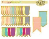 ON SALE Gold label clip art,color background tag clip art, label L-27, Gold Outline label clipart, scrapbooking