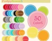 ON SALE Digital Label, circle frames clip art, 50 colors scrapbooking label.L-12 , instant download lable clip art