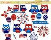 ON SALE Patriotic 4th of July Owlclip art, Independence day clip art ,4th of July holiday clip art,invitation,cards making ,INSTANT Download