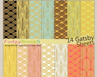 ON SALE Digital paper pack 12x12, gatsby digital background , No.194-2 printable background,blue , yellow, orange , instant download paper