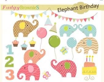 ON SALE elephant clip art,Birthday elephants ,baby elephant clip art,cupcake,balloons,elephant,bunting,clip art.