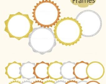 ON SALE gold silver frames clipart, Labels Gold Foil , Gold Outline frame, clipart frame, frame A-159, gold label, gold badges clip art