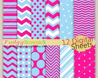 ON SALE ,Digital paper pack 7.5x11,Pink and Blue Digital background , No.91 printable background pink and blue ,  Instant download