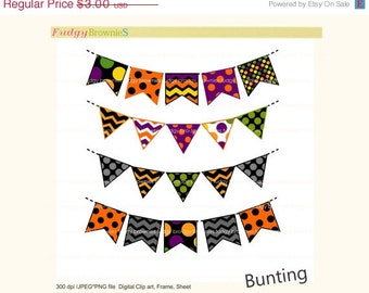 ON SALE bunting clip art,Digital bunting,halloween flag banners scrapbooking bunting,halloween,Flags banner , Instant Download