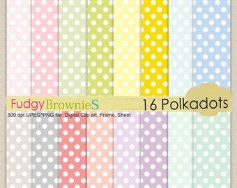 ON SALE ,Digital paper pack, Polka dots, scrapbooking, card, 16 soft colour digital sheets, No.16 ,  Instant download