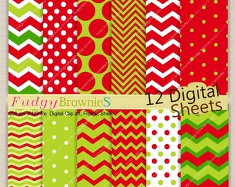 ON SALE Christmas Digital paper background 7.5x11 Christmas digital scrapbook , No.96 printable background, green and red ,  Instant downloa