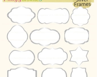 ON SALE Silver frames clipart,white background frame,clipart frame, frame A-154,Outline Bracket Frames,scrapbooking,instant download