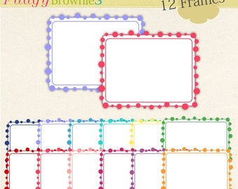 ON SALE Digital frame, frames clipart, rectangle Frames clipart, bright color frame, digital scrapbooking frames.A-178 , Instant Download
