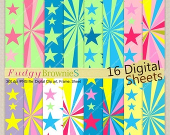 """ON SALE SALE,paper pack 8.5""""x11"""",kids super hero colour digital paper,birthday party background,No.208 printable background,Instant download"""
