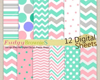 "ON SALE Digital paper background 8.5""x12"" , printable digital paper ,No.240 printable background, polkadots,  pink & teal, grey, chevron"