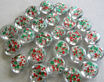 25 Glass GLITTER Gems - Christmas Colors - Hand Painted - Medium Size - Half Marbles/Cabochons