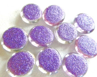 10 Glass GLITTER Gems - Dark PURPLE Color - Medium Size - Hand Painted - Half Marbles/Cabochons