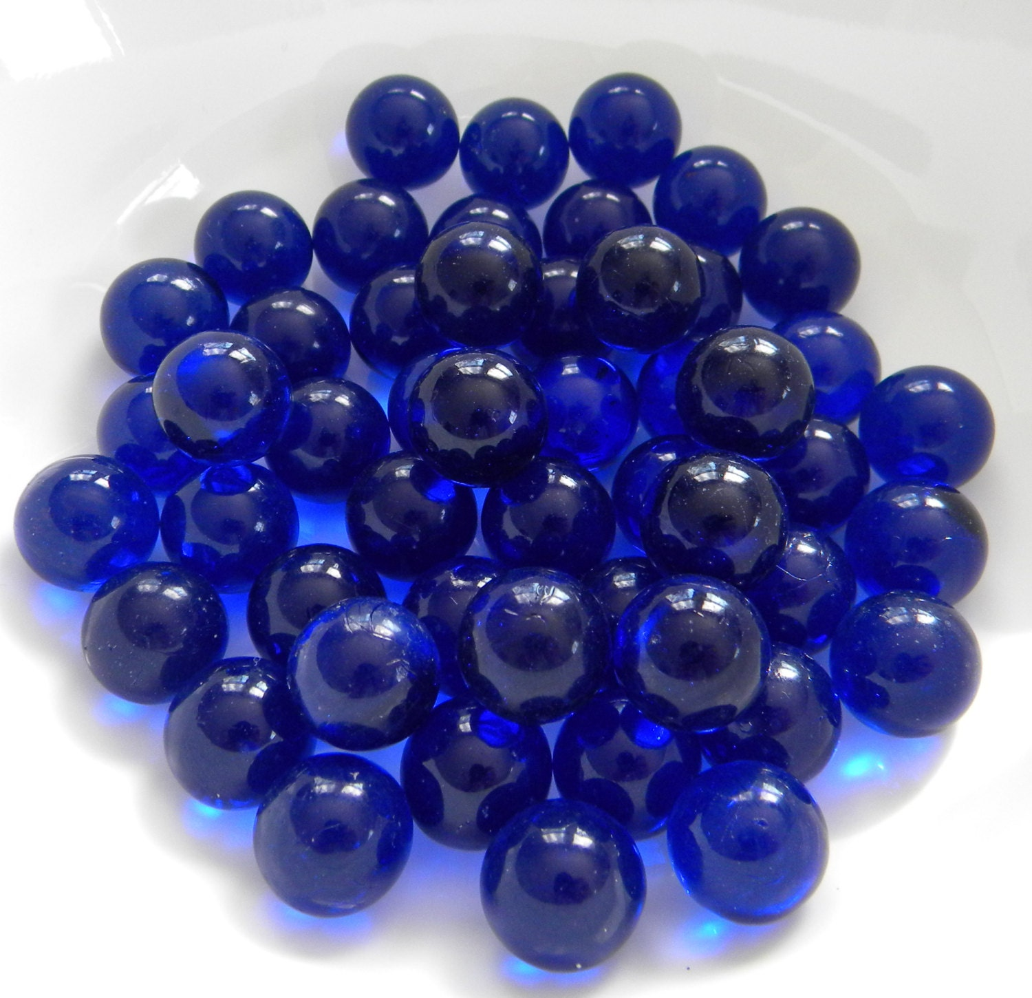 50 round glass gems cobalt blue for crafts for Glass jewels for crafts