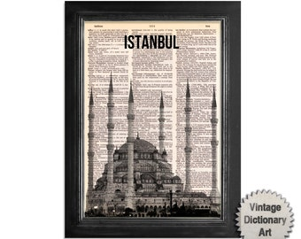 Istanbul Blue Mosque Turkey Skyline - Cityscape printed on Recycled Vintage Dictionary Paper - 8x10.5 Dictionary Art Print